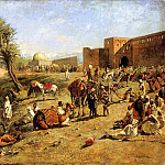 Weeks Edwin Lord Arrival of a Caravan Outside The City of Morocco, Edwin Lord Weeks