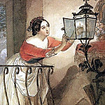 Karl Pavlovich Bryullov - Italiana, lightest the lamps in front of the Madonna. 1835