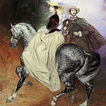 Riders. Doubles portrait of Mussard and E. Mussard., Karl Pavlovich Bryullov