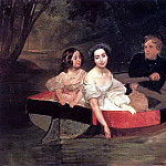 Karl Pavlovich Bryullov - Portrait of the author and Baroness E. N. Muller-Zakomelsky with a girl in the boat