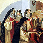 Nuns Convent of the Sacred Heart in Rome, singing at the organ. 1849, Karl Pavlovich Bryullov
