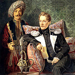 Karl Pavlovich Bryullov - Portrait of the military with a servant. 1830