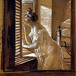 Karl Pavlovich Bryullov - Woman sending a kiss from the window. 1826