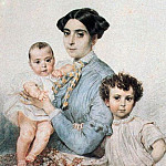 Karl Pavlovich Bryullov - Portrait of Teresa Michele Titton with his sons. 1850-1852