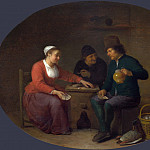 Hendrick Sorgh – A Woman playing Cards with Two Peasants, Part 3 National Gallery UK