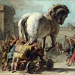Giovanni Domenico Tiepolo – The Procession of the Trojan Horse into Troy, Part 3 National Gallery UK