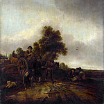 Isack van Ostade – A Landscape with Peasants and a Cart, Part 3 National Gallery UK