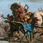 Giovanni Domenico Tiepolo – The Building of the Trojan Horse, Part 3 National Gallery UK