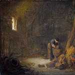 Isack van Ostade – The Interior of a Barn with Two Peasants, Part 3 National Gallery UK