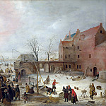 Hendrick Avercamp – A Scene on the Ice near a Town, Part 3 National Gallery UK
