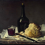 Still Life with Bottle, Glass and Loaf, Jean Baptiste Siméon Chardin