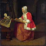 A Young Woman seated drawing, Gabriel Metsu