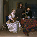 Gerard ter Borch – A Woman playing a Theorbo to Two Men, Part 3 National Gallery UK
