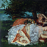 Young Ladies on the Bank of the Seine, Gustave Courbet