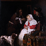 Two Men with a Sleeping Woman, Gabriel Metsu