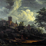 Imitator of Jacob van Ruisdael – A Castle on a Hill by a River, Part 3 National Gallery UK