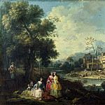 Giuseppe Zais – Landscape with a Group of Figures, Part 3 National Gallery UK
