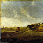 Imitator of Aelbert Cuyp – A Herdsman with Seven Cows by a River, Part 3 National Gallery UK