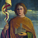 Part 3 National Gallery UK - Girolamo da Santacroce - A Saint with a Fortress and a Banner