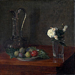 Ignace Henri-Theodore Fantin-Latour – Still Life with Glass Jug, Fruit and Flowers, Part 3 National Gallery UK
