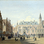 Gerrit Berckheyde – The Market Place and Town Hall, Haarlem, Part 3 National Gallery UK