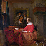 A Woman seated at a Table and a Man tuning a Violin, Gabriel Metsu