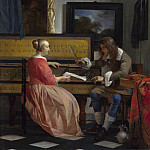 A Man and a Woman seated by a Virginal, Gabriel Metsu