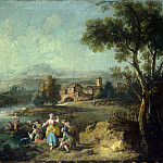 Giuseppe Zais – Landscape with a Group of Figures Fishing, Part 3 National Gallery UK