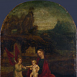 German – The Virgin and Child with an Angel in a Landscape, Part 3 National Gallery UK