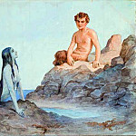 Mermaid and Faun, the beginning of the twentieth century. Corners, Sergey Sergeyevich Solomko