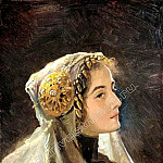 Russian beauty in a traditional headdress, Sergey Sergeyevich Solomko