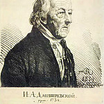 Portrait of actor Ivan Afanasyvitch Dmitrevsky. 1814 own drawings. Etching. GMII, Orest Adamovich Kiprensky