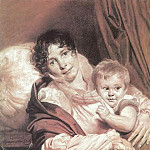 Orest Adamovich Kiprensky - Mother and Child (Portrait of Mrs. Preuss q). 1809. B. cinnamon. , Um. K., chalk. 57, 5h49. GTG
