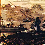 Landscape with boatmen. 1810 e. B., sepia, brush, pen, wc. , Br. 20h24. 3. GRM, Orest Adamovich Kiprensky