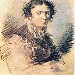 Orest Adamovich Kiprensky - Portrait VA Tomilova. 1813. BI on the map. , Um. c., Sang. And pastes. 22. 2h17. 8. GTG. JPG