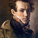 Orest Adamovich Kiprensky - Self-portrait (with a pink handkerchief). H. 1809, 41h35 pm. 7 RM