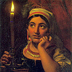 fortune-teller with a candle. 1828. Oil on canvas. 64h51. GRM, Orest Adamovich Kiprensky