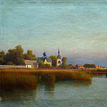 Lev (1827-1905) Lagorio - Town view from the river side. 1887. Oil on canvas.