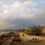Lev (1827-1905) Lagorio - View on the Neva River and the Peter and Paul Fortress. Canvas
