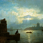 Lev (1827-1905) Lagorio - Moonlight night on the Neva. 1898