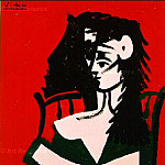 1959 Femme Е la mantille sur fond rouge I, Pablo Picasso (1881-1973) Period of creation: 1943-1961
