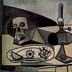1946 CrГne, oursins et lampe sur une table 1, Pablo Picasso (1881-1973) Period of creation: 1943-1961