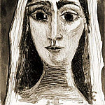 1961 Jacqueline en mariВe, de face I, Pablo Picasso (1881-1973) Period of creation: 1943-1961