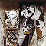1950 FranЗoise dessinant auprКs de ses enfants, Pablo Picasso (1881-1973) Period of creation: 1943-1961