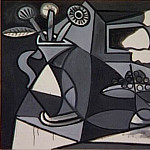 Pablo Picasso (1881-1973) Period of creation: 1943-1961 - 1943 Vase de fleurs et compotier