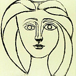 1945 TИte de jeune fille aux grands cheveux VI, Pablo Picasso (1881-1973) Period of creation: 1943-1961