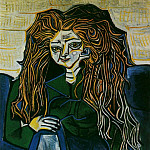 Pablo Picasso (1881-1973) Period of creation: 1943-1961 - 1951 Portrait de madame HВlКne Parmelin sur fond vert