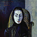 1954 Jacqueline avec une Вcharpe noire, Pablo Picasso (1881-1973) Period of creation: 1943-1961