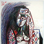 1955 Jacqueline assise en costume turc, Pablo Picasso (1881-1973) Period of creation: 1943-1961