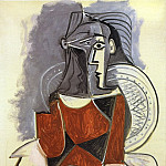 1960 Femme assise de face, en brun, au fauteuil dosier, Pablo Picasso (1881-1973) Period of creation: 1943-1961